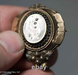 Broche De Deuil Victorienne D'or Antique Du 19e Siècle Avec Émail Noir Mai 1878