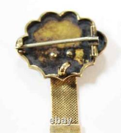 Broche Victorienne Antique 14k Or Tassel Pin Black Enamel & Seed Pearls