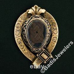 Broche Victorienne Antique Faite Main 10k D'émail Noir D'or Gravée De Deuil Pin De Broche