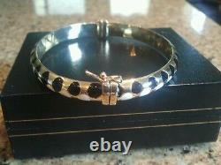 Carino 14k Or Noir Et Blanc Émail Dot Bangle /bracelet Rare Stunning Piece