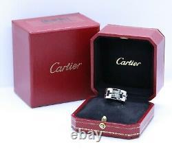 Cartier Paris Noir Émail Dragon 18 Kt Bague En Or Blanc Avec Boîte Unisexe S-8.5