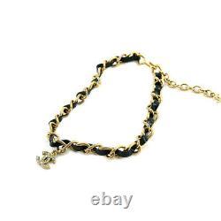 Chaîne Chanel Collier Choker Enamel Strass Or Noir 95p Vintage 90121627