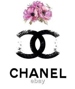 Chanel CC Logo Boucles D'oreilles De Paire Camellia Noir Fleur D'or ( Chanel Authentique)