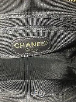 Chanel CC Matelassée Taille Pouch Bum Sac En Cuir Verni Noir Émail D'or