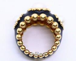Chanel Paris Or 18 Carats Bague Noire Émail Avec 3 Perles Véritables Exceptionnel Rare