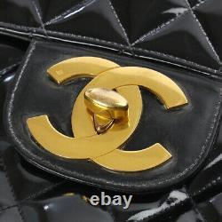 Chanel Sac À Épaule À Chaîne Matelassée Grand / Jumbo Enamel Cuir Noir Or Bon
