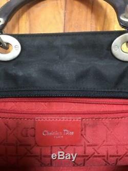 Christian Dior Lady Dior Cannage Sac Fourre-tout À La Main Émail X Nylon Noir Or Utilisé