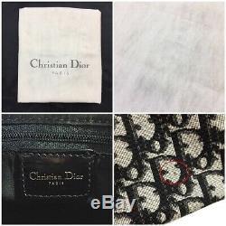 Christian Dior Mini Boston Sac Trotter Cpd44019 Matériel D'or En Pvc Noir Émail L