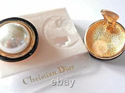 Christian Dior Signé Clip Boucles D'oreilles Or Plaqué Avec Faux Pearl & Black Enamel