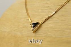 Christian Dior Signé Collier Vintage Black Enamel Strass Gold 1d