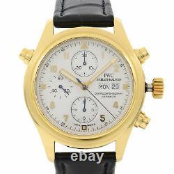 Chronographe Doppel 18k Gold White Enamel Dial Mens Watch Iw3711-11 D'iwc Pilot