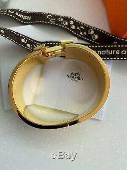Classique Hermes CLIC Clac Bracelet En Émail Noir D'or Hardware Pm Large