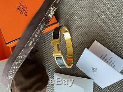 Classique Hermes CLIC Clac Bracelet En Émail Noir D'or Hardware Pm Raffinez Bangle