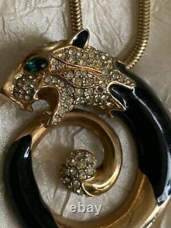 Collier De Design Français Vintage Gold & Black Panther, Émail, Chaîne Tubogas