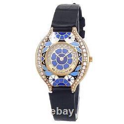 Corum Vintage 18 Carats En Cuir Jaune Quartz Diamant Montre En Émail Bleu 24.115.65