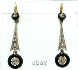Delicate Art Deco Or 18k Avec Diamants Et Boucles D'oreilles En Émail Noir