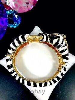 Délicieux Bracelet De Manchette En Émail Blanc Noir D'or De Ciner Gold-tone