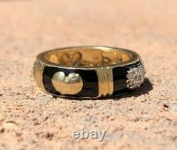 Designer 14k Yellow Gold Diamond Accented & Black Enamel Heart Band Ring