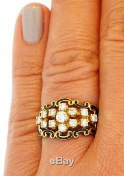 Diamant En Or Jaune 14k Diamant Noir Émail Fleur-de-lis Scrolls Signé Anneau