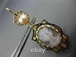 Domaine Grande Cameo Black Enamel & Pearl 14k Or Jaune Boucles D'oreilles Victoriennes 25733