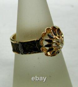 Edwardian 18 Carat Gold Lemon Diamond And Black Enamel Mourning Bague Taille R