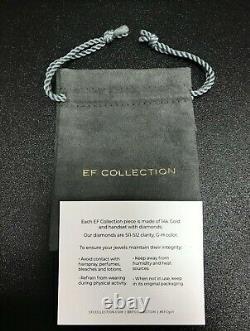 Ef Collection 14k Or Jaune Émail Noir Et Lunette Sertie De Diamants Boucles D'oreilles =. 08ctw
