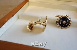 Émail Diamant Faberge De Jaune D'or Noir Boutons De Manchette Fine Jewellery F2324 Nouveau