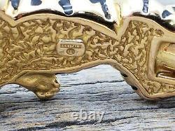 Estate 14k Gold Italie 3d Black Enamel Tiger Emerald Eyes Bangle Bracelet B