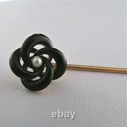 Estate 14k Yellow Gold White Pearl Black Enamel Stick Broche Cadeau Vintage