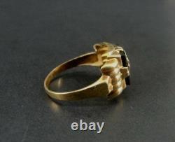 Étoile Orientale D'ob De Cru Avec L'onyx Noir D'émail 10k Taille Jaune D'anneau D'or 8