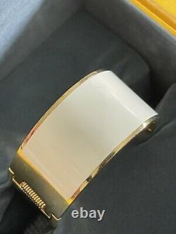 Fendi Femmes Enamel Fendista Cuff Bracelet Or Ton Noir Blanc