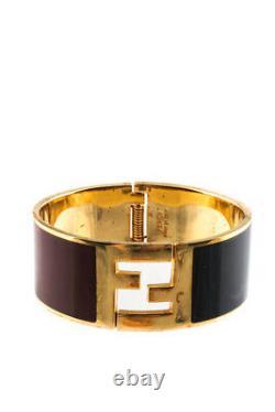 Fendi Femmes Enamel Fendista Cuff Bracelet Or Tone Noir Rouge
