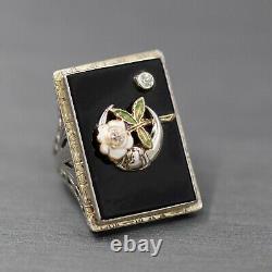 Filles Du Diamant Du Nil Et De L'émail Onyx Cocktail Ring En Or Blanc 18k