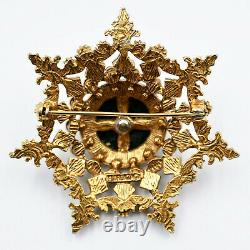 Florenza 7 Point Star Pin Brooch 2 Strass Pearls Black Enamel Gold Vintage