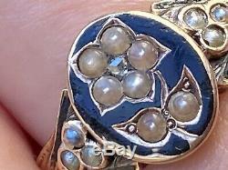 Géorgie 18k Perles De Split Diamonds Cut Rose Émail Noir Bague En Or Taille Q / R