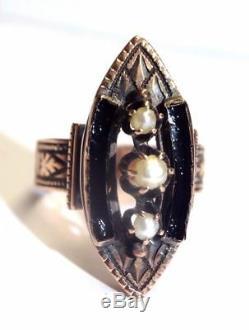 Gothique Victorien En Émail Noir 9ct Perle Gravée Or Rose Taille 6.5 Bague Navettes