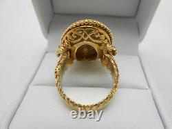 Grand Antique Estate 14k Solid Yellow Gold Black Enamel & Diamond Ring Taille 6.5