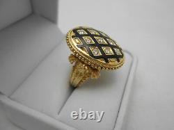 Grand Heavy Estate 14k Massif Jaune Or Noir Émail Et Diamant Taille Bague 6.5