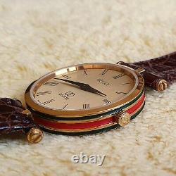 Gucci 2000m 18 Kgp Red And Green Enamel Men's/women's Watch (nr642)