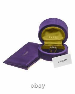 Gucci Diamantissima 18k Or Jaune Et Noir Bague Émail Sz 8 Ybc284722002017