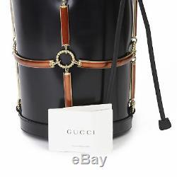 Gucci En Vinyle Noir, Sac En Peau D'agneau Et La Rouille Émail Bucket Hb3223