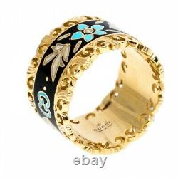 Gucci Icon Blooms Band Ring 18ct Or Avec Black Enamel Rrp £1840