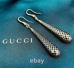 Gucci Italien Made 18k Yellow Gold Diamantissima Black Enamel Drop Boucles D'oreilles