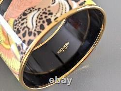 Hermes 100 Vert / Rose / Or Jaguar Quezal XL Large Émail Bangle Sz65, Bnib