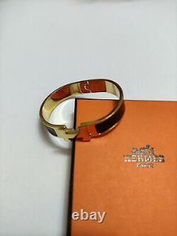 Hermes 18k Bracelet En Émail Or Classique CLIC CLIC Clac H Bangle Black Pm Nouveau