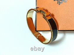 Hermes 18k Gold Enamel Bracelet Classic CLIC Clac H Bangle Black Pm Nouveau