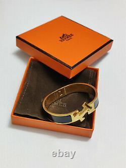 Hermes Bracelet En Or 18 Carats Émail Classique CLIC Clac H Bangle Noir Pm Nouveau