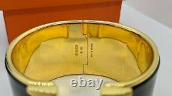 Hermes CLIC Clac H Black Enamel Bracelet Plaqué Or Extra Large 55mm