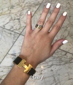 Hermes CLIC Clac H Bracelet Pm Wide Black & Gold