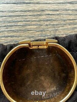 Hermès CLIC Clac XL Bracelet Or Et Noir Émail H Édition Limitée Wow
